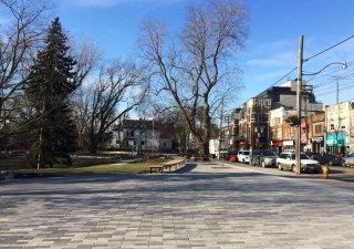 Kew Gardens Streetscape, Toronto <br> Product: Promenade® Plank Paver with Umbriano® finish Color: Winter Marvel, Midnight Sky