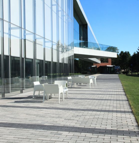 Tinkham Veale University Center, OH <br> Product: Eco-Priora™ with Umbriano® finish Color: Winter Marvel, Midnight Sky
